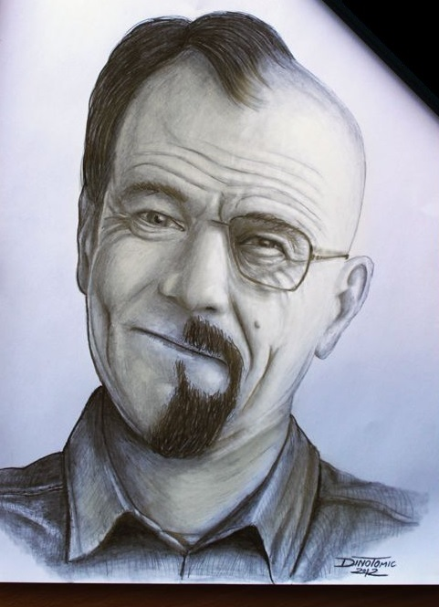Bryan Cranston/Walter White - a.k.a. Dr. Jekyll & Mr. Hyde Illustratie gevonden op http://redeyerogue.com/walter-white-the-supervillain
