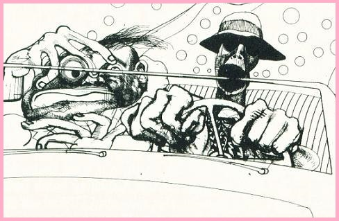 De Britse cartoonist Ralph Steadman maakte de geniale tekeningen bij het boek